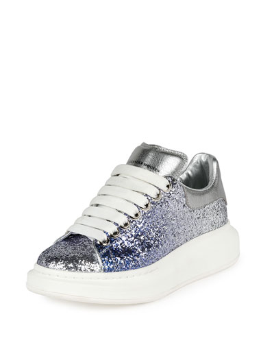 Metallic Leather Low-Top Sneaker, Blue/Silver