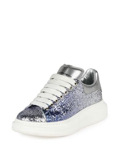 Metallic Leather Low-Top Sneaker, Blue/Silver