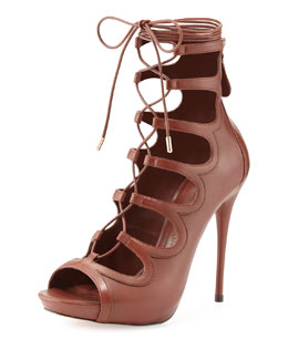 Curvy Lace-Up Calfskin Sandal, Henne