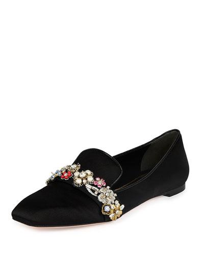 Jewel-Embellished Silk Smoking Slipper, Black/Multi