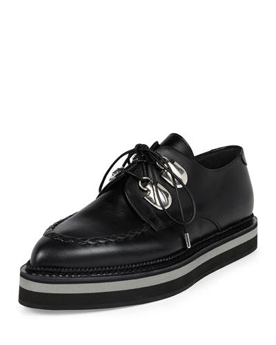 Platform Leather Lace-Up Loafer, Black