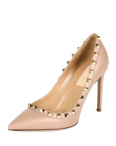 Rockstud Leather Pump, Poudre