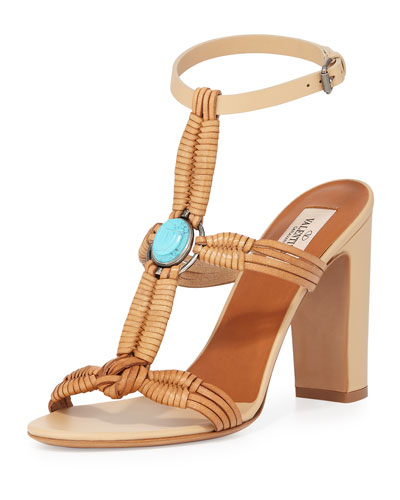 Embellished Woven Leather Sandal, Natural/Turquoise