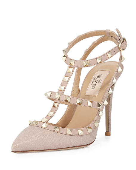 Rockstud Leather 100mm Pump, Powder (Poudre)