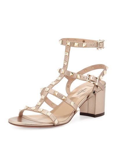 Rockstud Leather City Sandal, Skin
