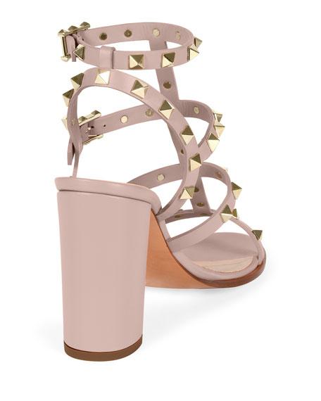 86699eca7 Valentino Rockstud Leather Block-Heel Sandal, Powder