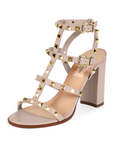 Rockstud Leather Block-Heel Sandal, Powder