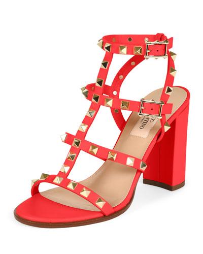 Rockstud Leather Block-Heel Sandal, Fragola