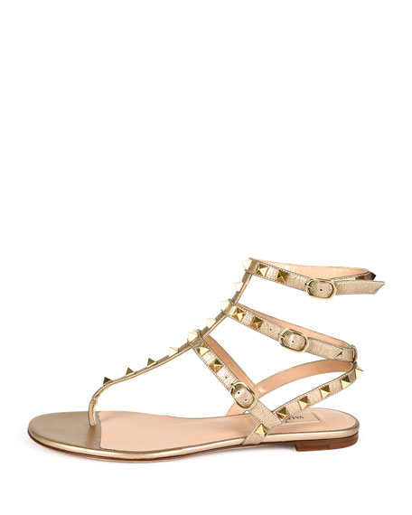 Rockstud Metallic Leather Gladiator Sandal, Light Gold