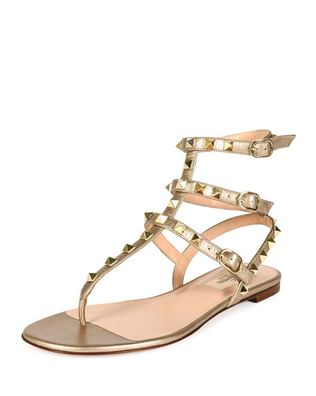 3db84d1784e Valentino Rockstud Metallic Leather Gladiator Sandal