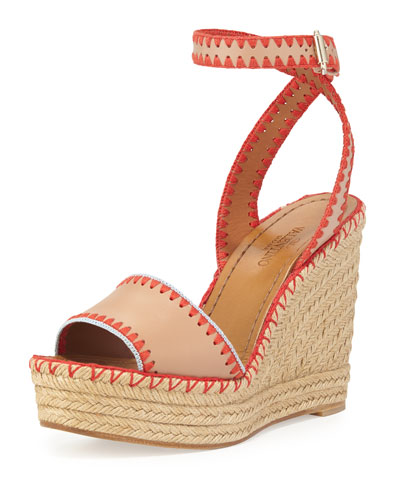 Stitched Leather Wedge Espadrille, Skin/Coral