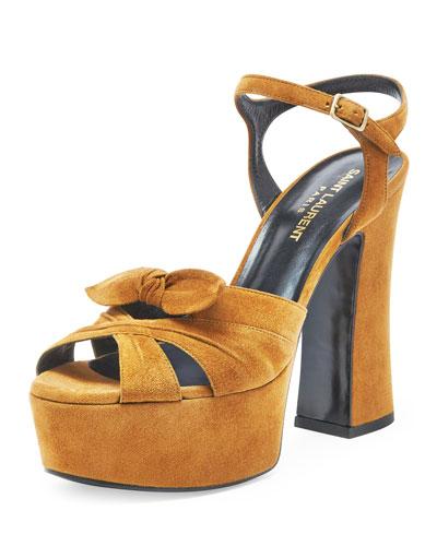 Candy Suede Platform Sandal, Tan