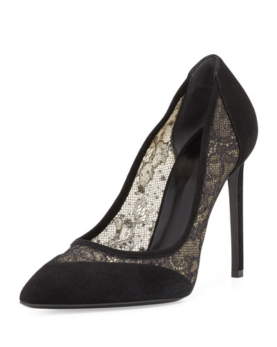 Paris Lace & Suede 105mm Pump, Black