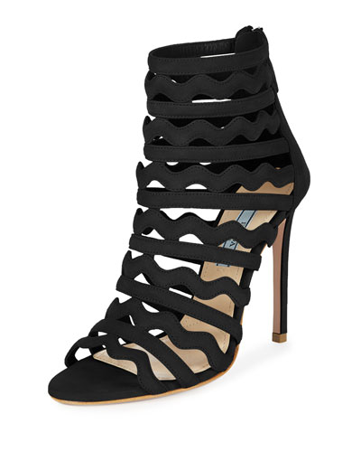 Wavy Caged Suede Sandal, Black
