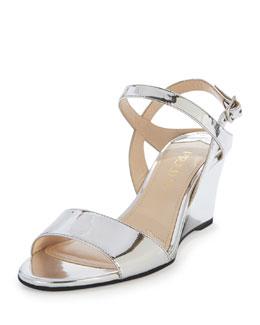 Metallic Patent Wedge Sandal, Silver