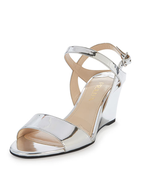 f6f8b5d1c626 Prada Metallic Patent Wedge Sandal