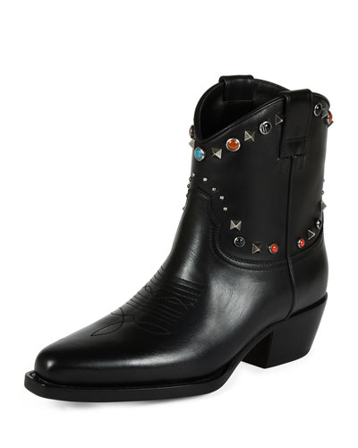 Rockstud Leather Cowboy Ankle Boot, Black (Nero/Al Campione)