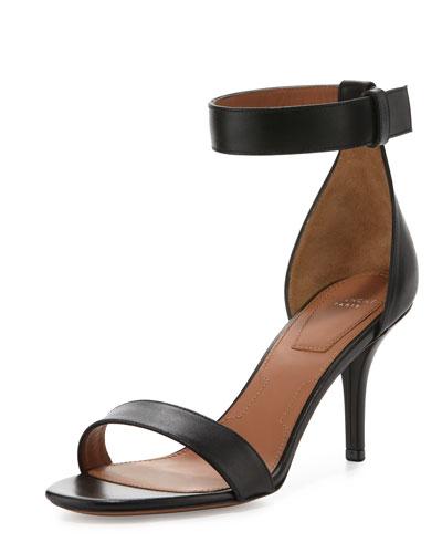 Elegant Ankle-Wrap Sandal, Black