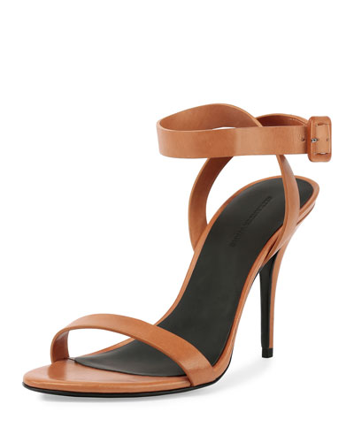 Antonia Leather Ankle-Wrap Sandal, Natural