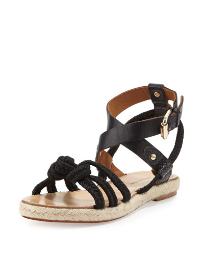 Camila Knotted-Rope Sandal, Black