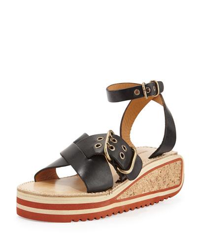 Zena Striped Wedge Sandal, Black