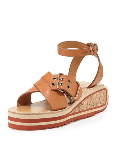 Zena Striped Wedge Sandal, Tan