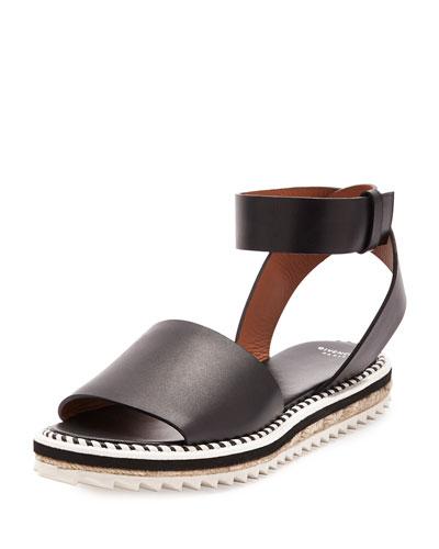 Flat Ankle-Wrap Espadrille Sandal, Black