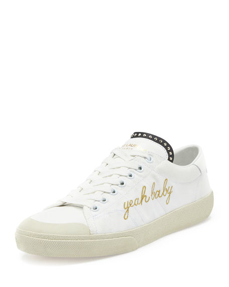 saint laurent yeah baby canvas low top sneaker white