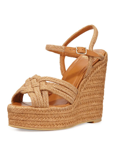 Braided Jute Wedge Sandal, Woven Tan