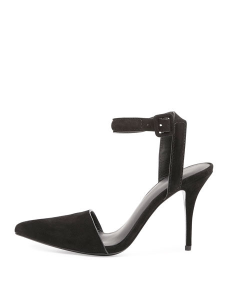 Lovisa Suede Pointed-Toe Pump, Black