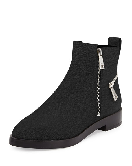 Kenzo Pebbled Leather Ankle Zip Boot, Black
