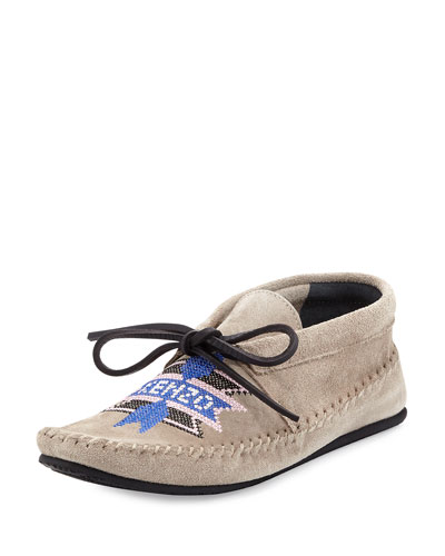 Embroidered Logo Suede Moccasin
