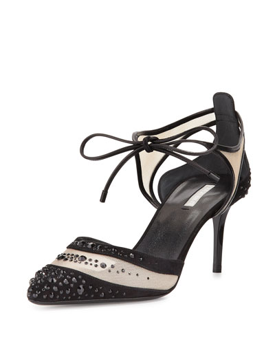 Crystal-Embellished Ankle-Toe Pump, Black/Gray