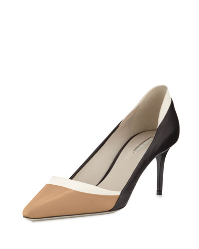 Tricolor Leather 65mm Pump, Black/White/Beige