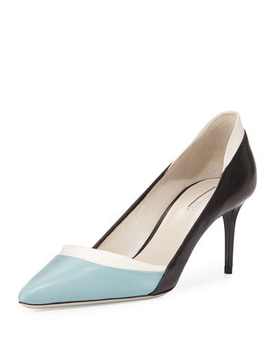 Tricolor Leather 65mm Pump, Black/White/Blue