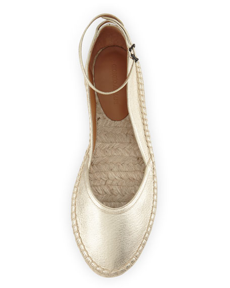 Metallic Leather d'Orsay Espadrille, Gold