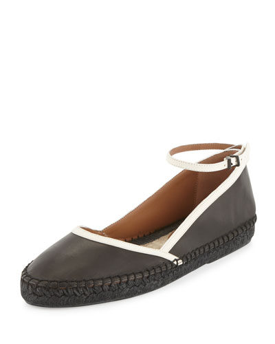 Leather d'Orsay Espadrille, Black/White