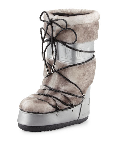 MB Classic Lace-Front Shearling Moon Boot®, Silver/White