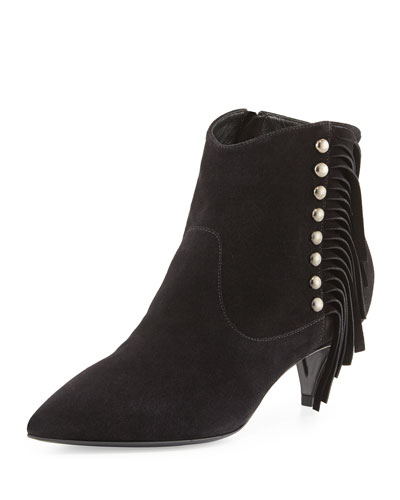 Suede Side-Fringe Ankle Boot, Nero