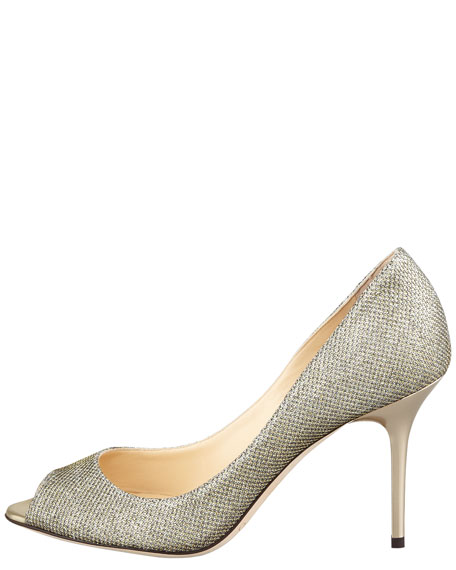 Evelyn Peep-Toe Glitter Pump, Light Bronze