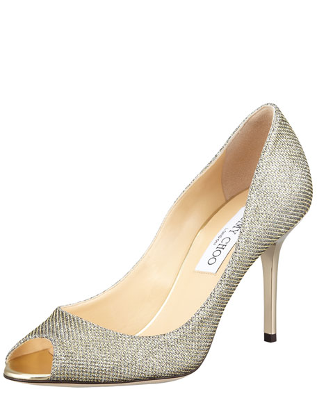 Evelyn Peep-Toe Glitter Pump, Light Bronze