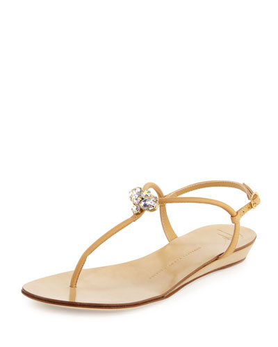 Jeweled Leather Demi-Wedge Sandal, Cream