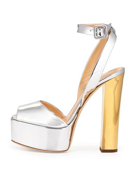 Metallic Leather High-Heel Sandal, Argent