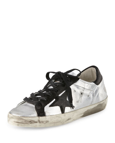Star-Embellished Leather Sneaker, Silver/Black
