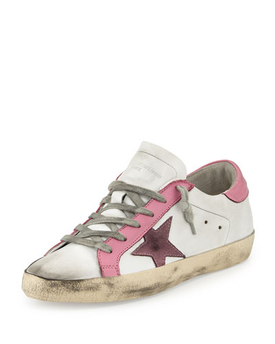 Star-Embellished Leather Sneaker, White/Pink