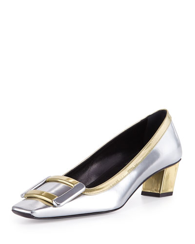 Belle Metallic Buckle Pump, Silver/Gold