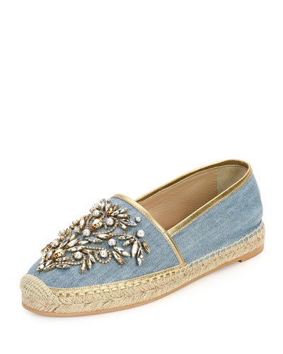 Crystal-Embellished Denim Espadrille Flat