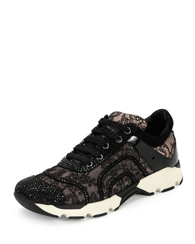 Crystal-Embellished Lace Trainer, Black