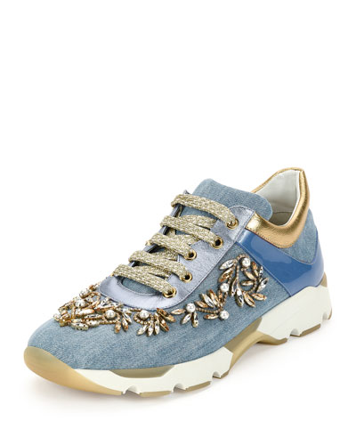 Crystal-Embellished Denim Trainer
