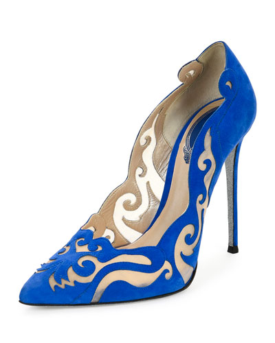 Laser-Cut Suede Illusion Pump, Blue